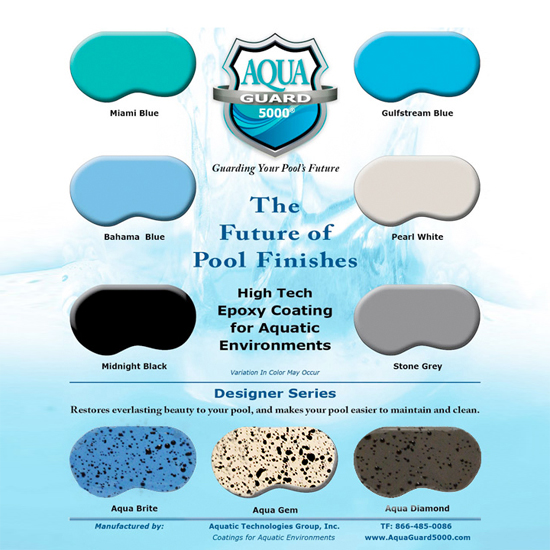 Sample Board of AquaGuard 5000 Epoxy Pool Paint Color Chart - Aqua ...