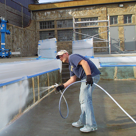 Commercial pool resurfacing and restoration epoxy pool paint application