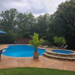 Before and after images of a swimming pool with Gulf Stream Blue pool paint